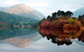 Картинка осень, лес, пейзаж, горы, озеро, отражение, Природа