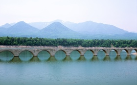 Обои небо, пейзаж, природа, город, Япония, токио, Хоккайдо мост