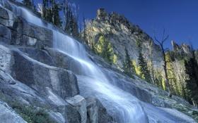 Обои небо, деревья, горы, река, ручей, скалы, водопад