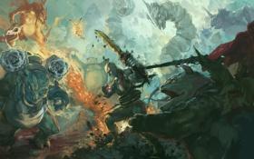 Обои god of war, kratos, pokemon, Pikachu, Blastoise, Venusaur, Onix