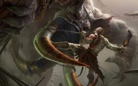 Картинка кровь, слон, цепь, битва, Kratos, бивни, Кратос
