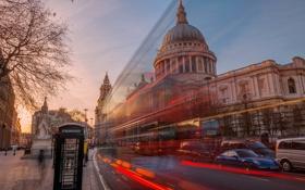 Обои свет, Англия, выдержка, будка, автобус, город Лондон