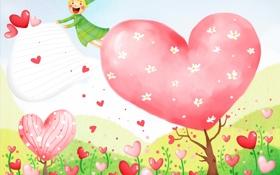 Обои цветы, эльф, сердечки, полёт, детские обои