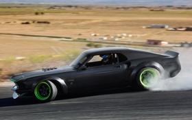 Обои car, машина, дым, скорость, mustang, тачки, drift