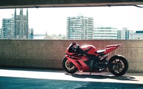 Обои тюнинг, мотоцикл, парковка, honda, хонда, спортбайк, superbike