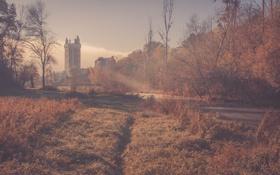Обои замок, башня, река, лес, туман, солнце