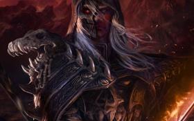 Картинка Legend of the cryptids, маска, воин, арт, капюшон, меч, мужчина