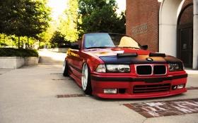 Картинка тюнинг, бмв, BMW, red, кабриолет, красная, tuning