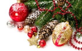 Обои шарики, украшения, праздник, Новый Год, Рождество, Christmas, New Year