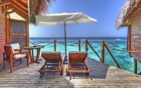 Обои шезлонги, Мальдивы, лето, океан, курорт, бунгало