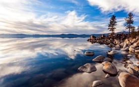 Картинка пейзаж, небо, озеро, камни