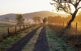 Картинка дорога, холмы, забор, франция