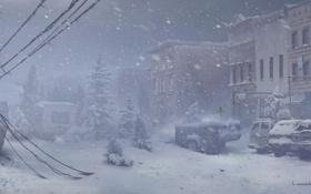 Картинка зима, машина, снег, город, арт, The Last of Us