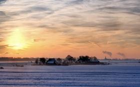 Картинка закат, пейзаж, поле, зима, дома