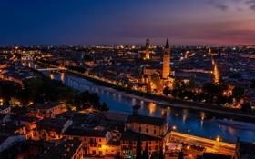 Обои город, Verona, ночь