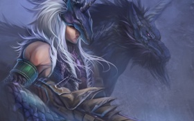 Картинка оружие, дракон, аниме, арт, парень, рог, monster hunter