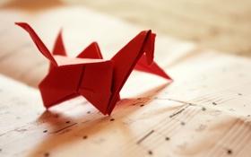 Картинка бумага, ноты, оригами