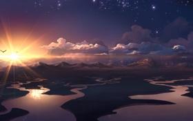 Картинка облака, закат, горы, птицы, река, звёзды