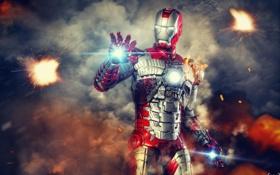 Картинка блики, костюм, Fire, железный человек, Iron Man