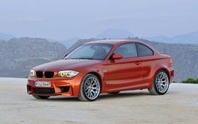 Обои BMW, Колеса, Машина, Бумер, Оранжевый, Капот, 1 series