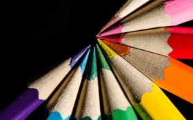 Обои black, wood, pencils of colors
