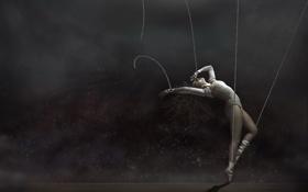 Обои верёвки, девушка, танец, балерина