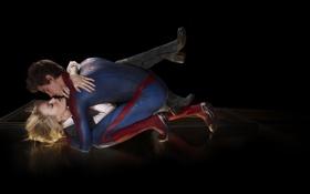 Обои фантастика, поцелуй, комикс, Emma Stone, The Amazing Spider-Man, Andrew Garfield, Новый Человек-паук