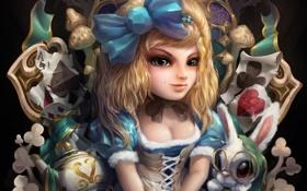 Обои карты, кролик, арт, Алиса, девочка