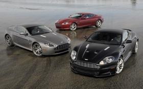 Картинка V8 Vantage, мокрый асфальт, aston martin, db9, dbs, mixed