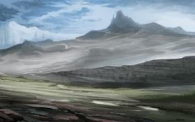 Обои горы, скалы, холмы, арт, льдины, пустошь, пустынно