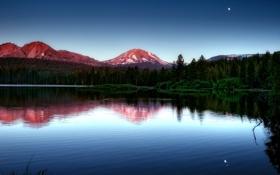 Картинка лес, горы, озеро, вечер