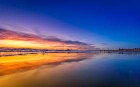 Обои пляж, побережье, горизонт, небо, рассвет, океан