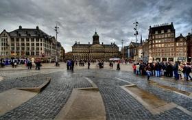 Обои Амстердам, Нидерланды, Amsterdam, Netherlands, Dam Square