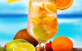 Картинка summer, beach, fresh, fruit, orange, drink, cocktail