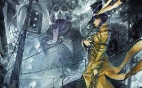 Картинка девушка, город, пистолет, провода, трубка, шляпа, Монстр