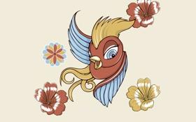 Обои птица, птичка, вектор, цветы