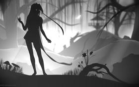 Обои лес, девушка, limbo
