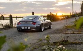 Картинка закат, серебристая, BMW, бмв, silver