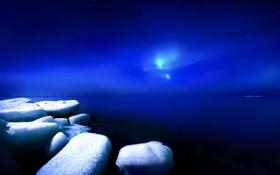 Обои лед, зима, небо, ночь, Финляндия
