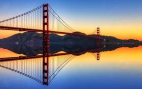 Картинка мост, пролив, отражение, Калифорния, Золотые Ворота, США, Golden Gate Bridge