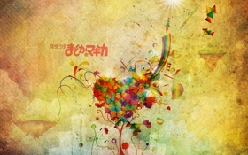 Обои аниме, бабочки, рисунок, радуга