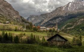 Картинка трава, облака, деревья, горы, Франция, долина, Альпы