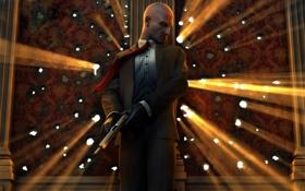 Картинка оружие, стена, выстрел, костюм, Hitman, лысина