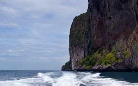 Картинка море, пляж, пейзаж, скала