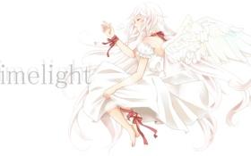 Картинка крылья, Ангел, бант, белое платье, красная лента