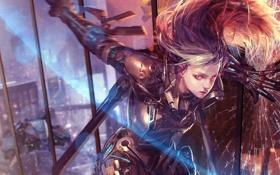 Обои девушка, трещины, оружие, здание, окна, меч, арт