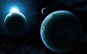 Обои туманность, звезды, восход, nebula, планеты, спутники