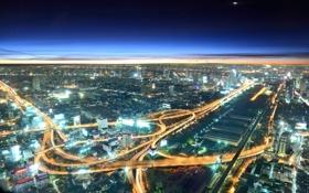 Картинка небо, свет, город, дороги