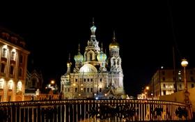 Картинка ночь, огни, фонари, Санкт-Петербург, церковь, собор, храм
