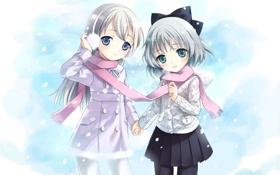 Картинка зима, аниме, девочка, подруги